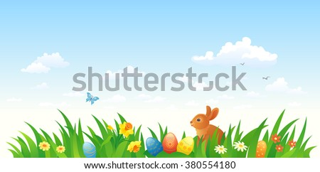 Vector illustration of an Easter scene with a bunny - stock vector