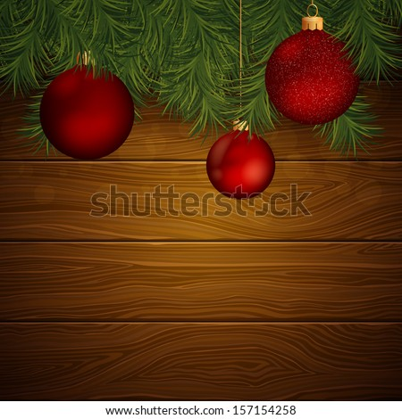 Vector Illustration of an Elegant Christmas Background with Baubles - stock vector