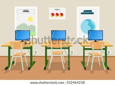 Vector illustration of an empty classroom - stock vector