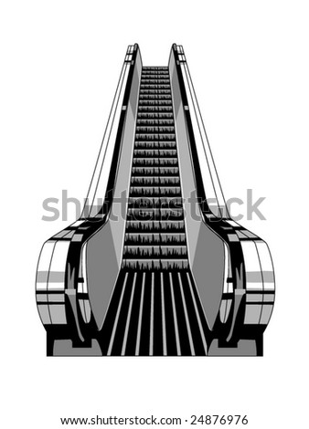 vector illustration of an escalator - stock vector