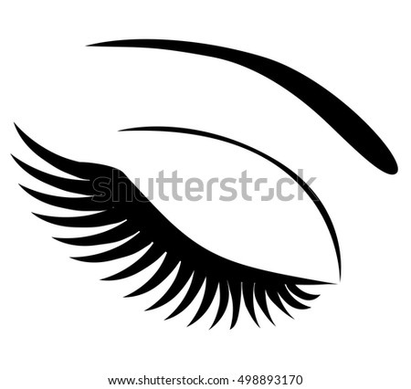 vector illustration of an eye icon with long lashes make up isolated on white background