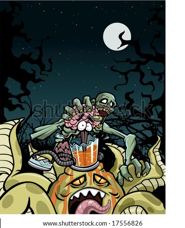 Vector illustration of an intense territorial battle between a zombie and an alien. Looks like zombie has the edge, having ripped the brain out of the alien's glass brain canister.