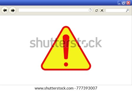 vector illustration of an internet browser with danger sign