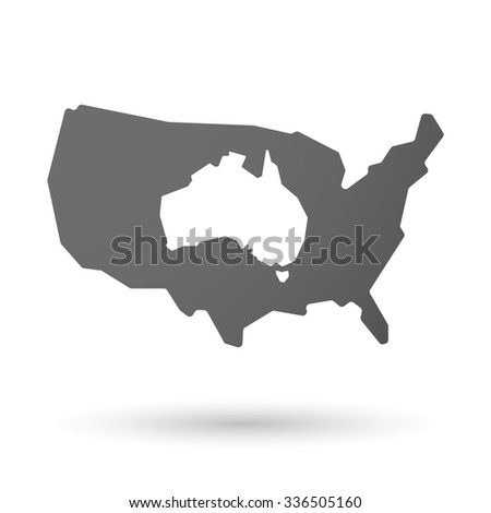 Vector illustration of an isolated USA map icon with  a map of Australia - stock vector