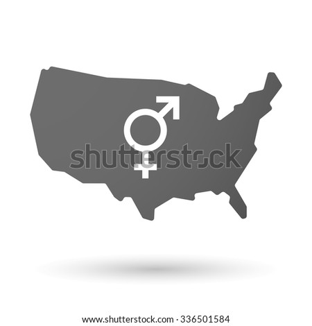 Vector illustration of an isolated USA map icon with a transgender symbol - stock vector