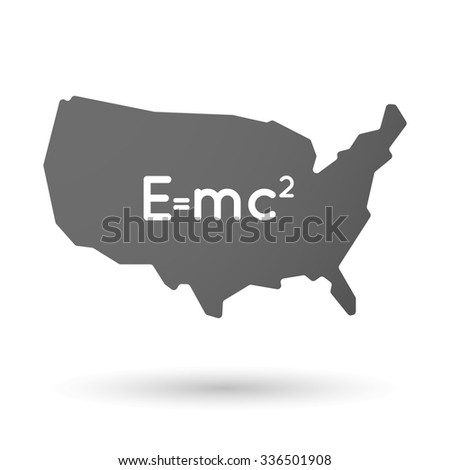 Vector illustration of an isolated USA map icon with the Theory of Relativity formula - stock vector