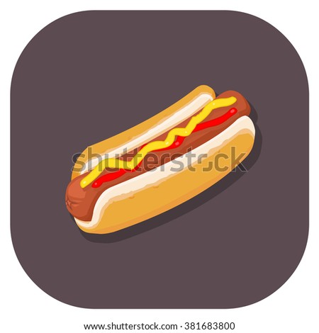 Vector illustration of an Isometric Hot dog. Junk or fast food icon.  Food Internet Icon. - stock vector