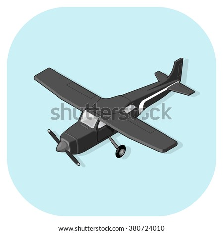 Vector illustration of an isometric Light Aircraft icon.  Isometric passenger light plane transportation.  Light Cessna Plane Air Travel Web Icon. - stock vector