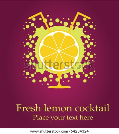 Vector illustration of an lemon in the glass, spray around the fresh juice - stock vector