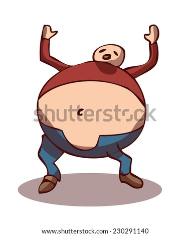 Vector Illustration of an obese person being honestly annoyed and frustrated cause of his Physical state.  - stock vector