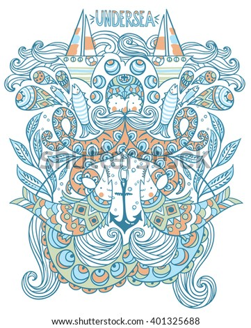 vector illustration of an octopus and nautical elements
