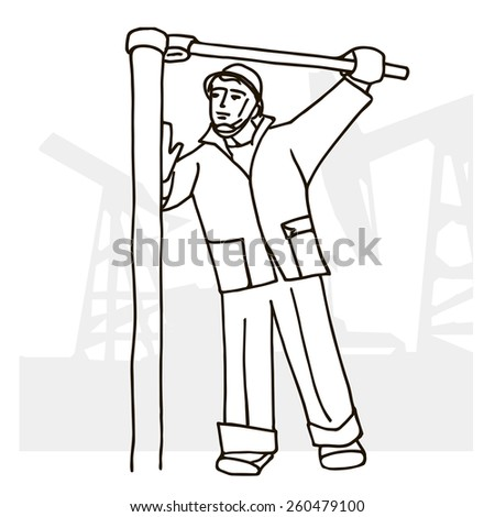 Vector illustration of an oilman on background infrastructure. Man loosening pipe wrench. - stock vector