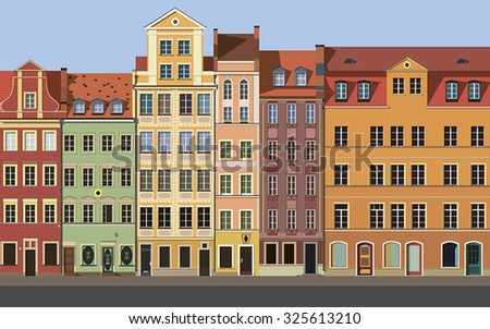 Vector illustration of an old european town. Flat design.
