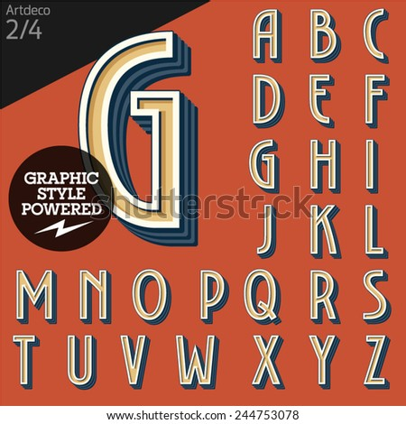 Vector illustration of an old fashioned alphabet. Art deco. Set 2 - stock vector