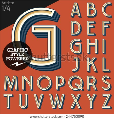 Vector illustration of an old fashioned alphabet. Art deco. Set 1 - stock vector