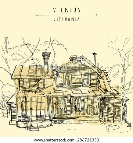 Vector illustration of an old house in Vilnius, Lithuania, Europe. Isolated freehand drawing. Travel sketch. Greeting card template. Postcard design with hand lettered title and space for text