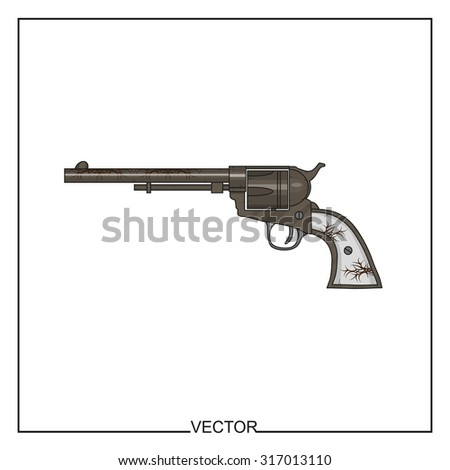 Vector illustration of an old revolver