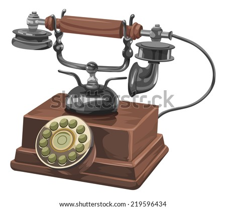 Vector illustration of an old telephone with rotary dial. - stock vector