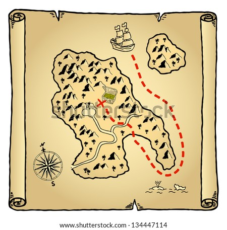 Vector illustration of an old treasure map - stock vector