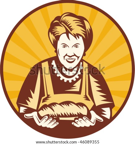 vector illustration of an old woman presenting a freshly baked loaf of bread set inside a circle.