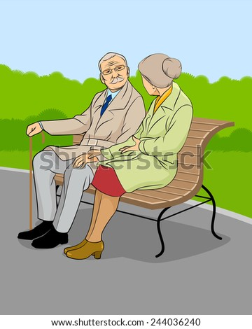 Vector illustration of an older couple in the park
