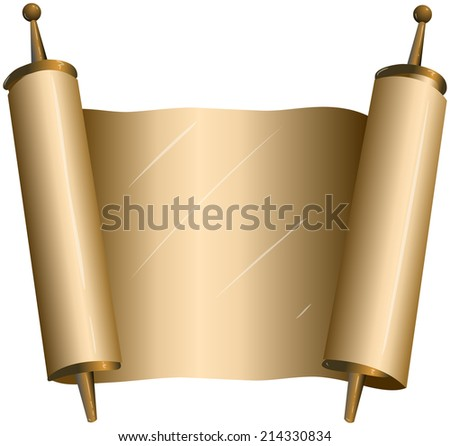 Vector illustration of an open torah scroll  - stock vector