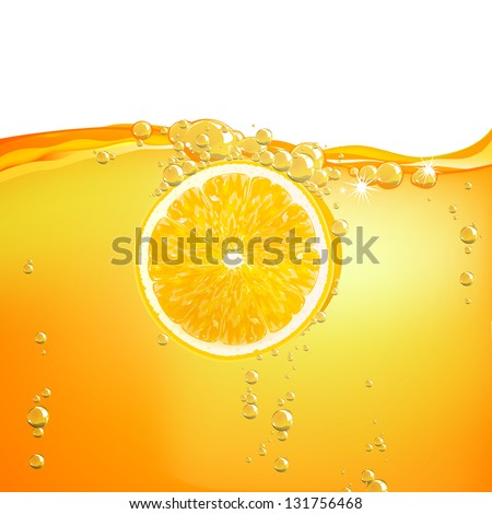 Vector Illustration of  an Orange Fruit falling in liquid - stock vector