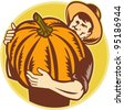 vector Illustration of an organic farming holding up a giant pumpkin done in retro woodcut style. - stock photo