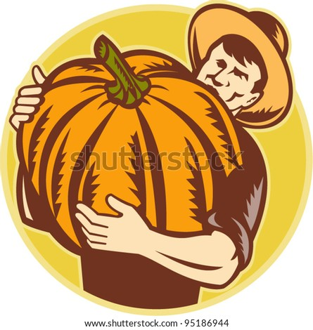 vector Illustration of an organic farming holding up a giant pumpkin done in retro woodcut style. - stock vector