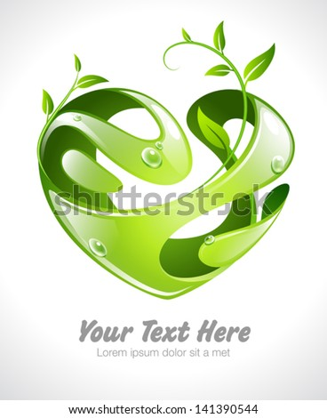 Vector illustration of an organic stylized heart with growing leaves - stock vector