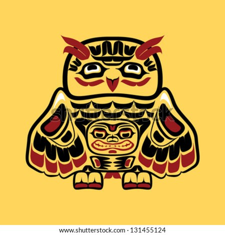 Vector illustration of an owl, stylization of Native North American art.  Single component of a totem in black, white, red, and yellow colors, drawn with thick black line. - stock vector