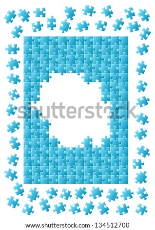 vector illustration of an unfinished jigsaw Puzzle - stock vector