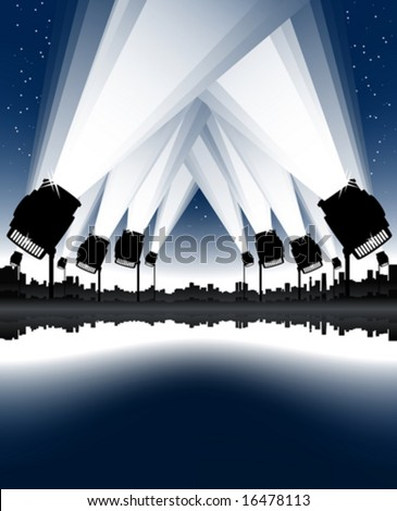 Vector illustration of an urban cityscape and skyline with sea bay and spotlights in the sky. Night sky with stars. - stock vector