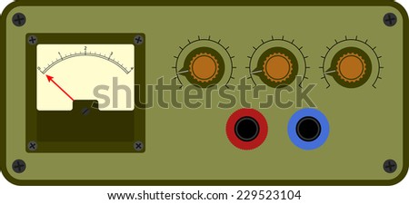 Vector illustration of analogical device control panel - stock vector