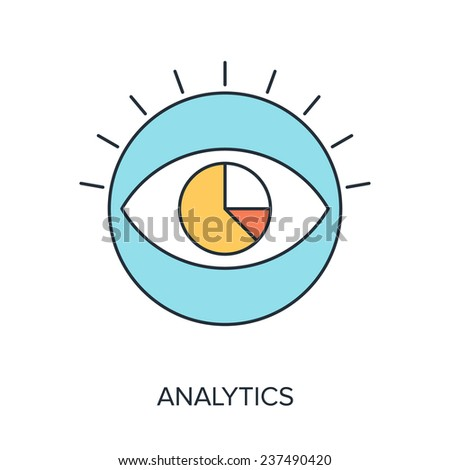 Vector illustration of analytics flat line design concept. - stock vector