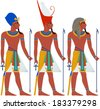 Vector illustration of ancient Egypt Pharaoh three pack.  - stock