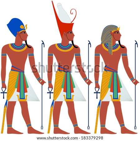 Vector illustration of ancient Egypt Pharaoh three pack.  - stock vector