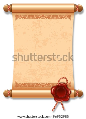 Vector illustration of ancient manuscript, with vintage rope and wax seal.