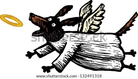 Vector illustration of angel dog chasing halo - stock vector