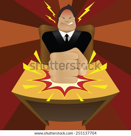Vector illustration of angry businessman beating table in cartoon style - stock vector
