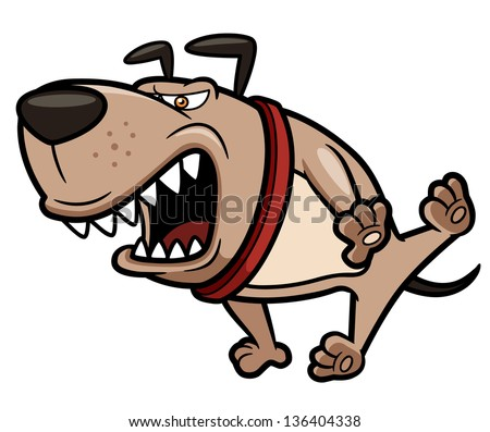 Vector illustration of Angry Dog - stock vector