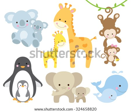 Vector illustration of animal and baby including koalas, penguins, giraffes, monkeys, elephants, whales. - stock vector