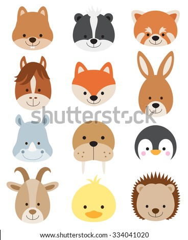 Vector illustration of animal faces including squirrel, hamster, skunk, red panda, horse, fox, kangaroo, rhino, walrus, penguin, goat, duck, and hedgehog. - stock vector