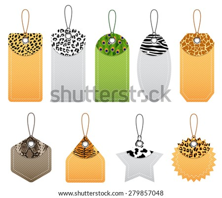 Vector illustration of animal patterns price tags. Used blending mode and transparency.