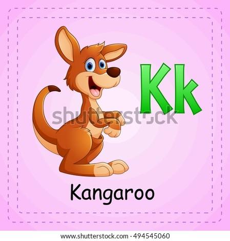 vector illustration animals alphabet k kangaroo vector de