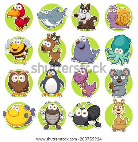Vector illustration of Animals set Cartoon - stock vector