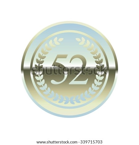 Vector illustration of Anniversary - 52. Laurel wreath on a silver background.