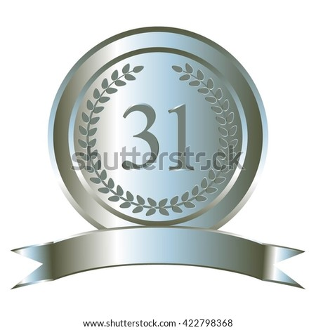 Vector illustration of Anniversary - 31. Silver laurel wreath and ribbon.