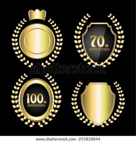 Vector illustration of Anniversary 70, 100 years. Laurels wreath. Crown. - stock vector