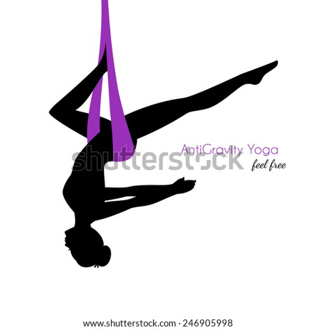 Vector illustration of Anti-gravity yoga poses woman silhouette - stock vector
